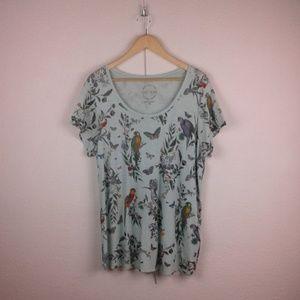 Lucky Brand l Birds Butterfly Floral Print T-shirt